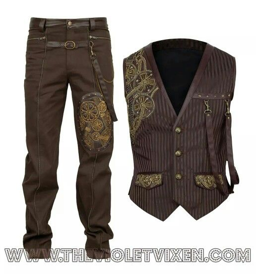 steampunk styling - male canvas pants with gear embroidery, pinstripe vest w/gear embroidery, pockets for watch, straps for items,