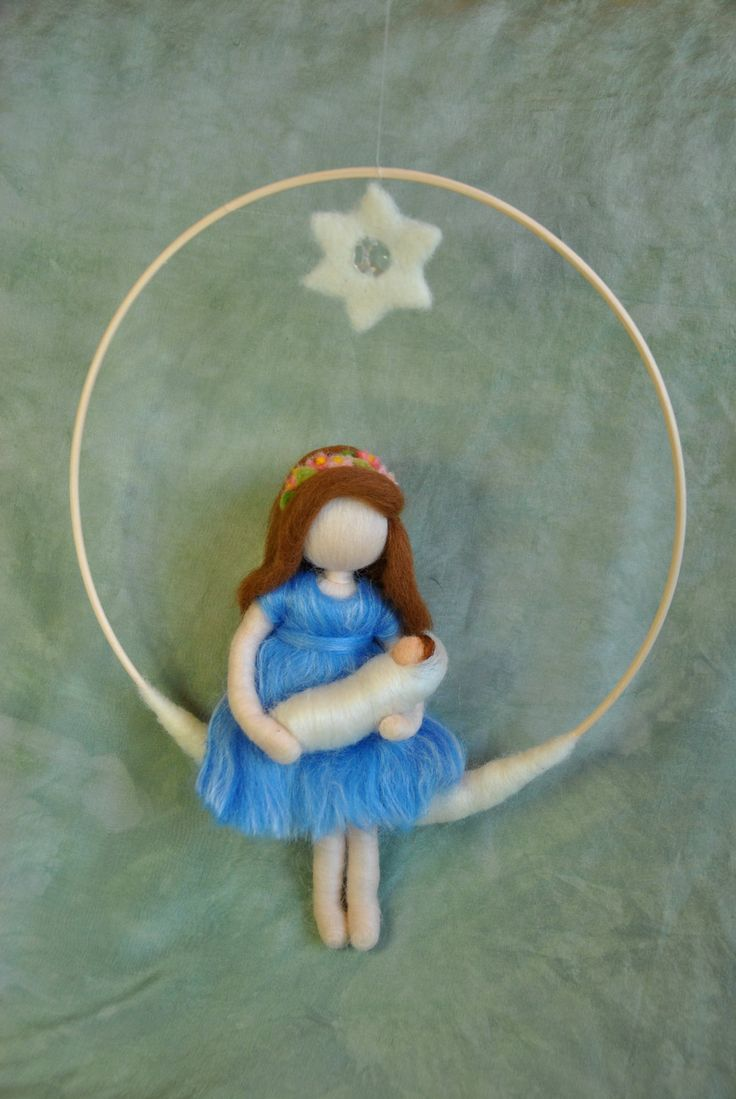 Waldorf inspired needle felted doll mobile: Mother and baby under the crystal…