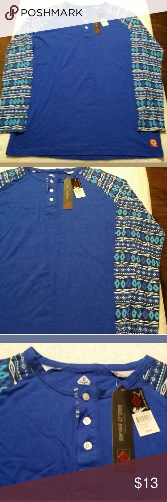 Swiss Cross Men's Blue Henley Shirt Size M Swiss Cross Men's Blue Henley With Design On Long Sleeve Shirt Size Medium New. Swiss Cross Shirts Tees - Long Sleeve