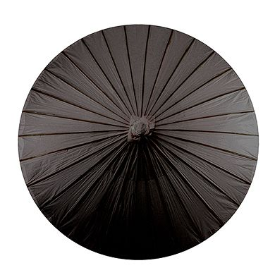 Paper Parasol with Bamboo Boning - Black - The Wedding Faire