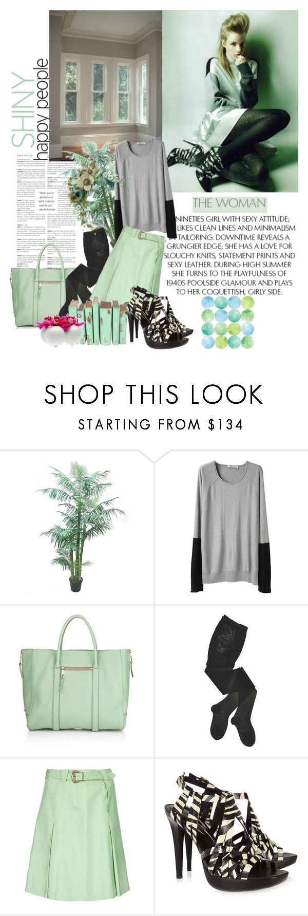 """""""#71"""" by fashionartlover ❤ liked on Polyvore featuring Reiss, T By Alexander Wang, Chloé, HYD, Emilio Pucci, Diane Von Furstenberg, Chive, mint green, vintage skirt and platform high heel"""