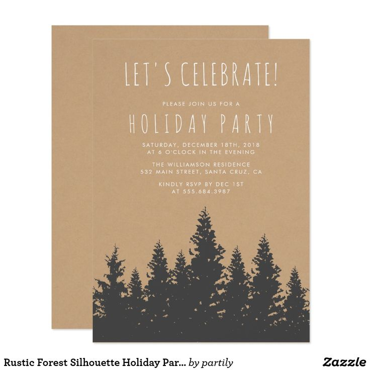 company christmas party invitation templates%0A Rustic Forest Silhouette Holiday Party Invitation