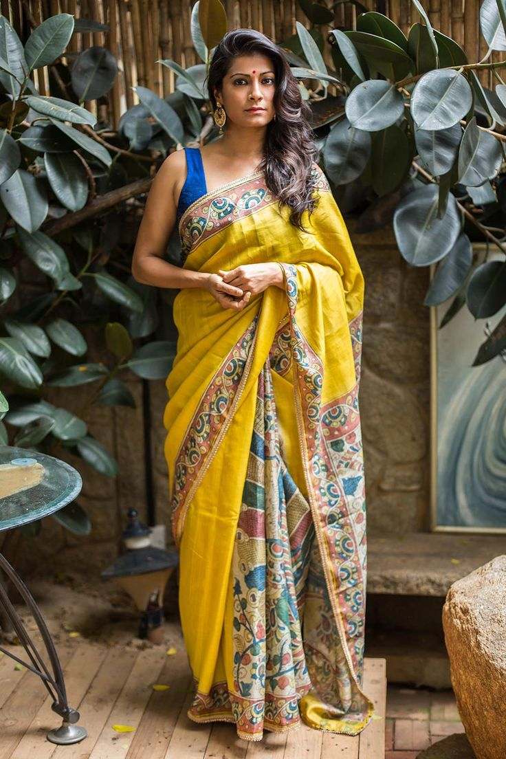Yet another gorgeous kalamkari saree! With the rich texture of pure tussar and the hand painted magic of kalamkari art on the pallu, pleats and border. You can't go wrong with this mellow yellow drape.Pair with any of the kalamkari colors for the blouse and you are good to go! #Kalamkari #saree #india #blouse #houseofblouse