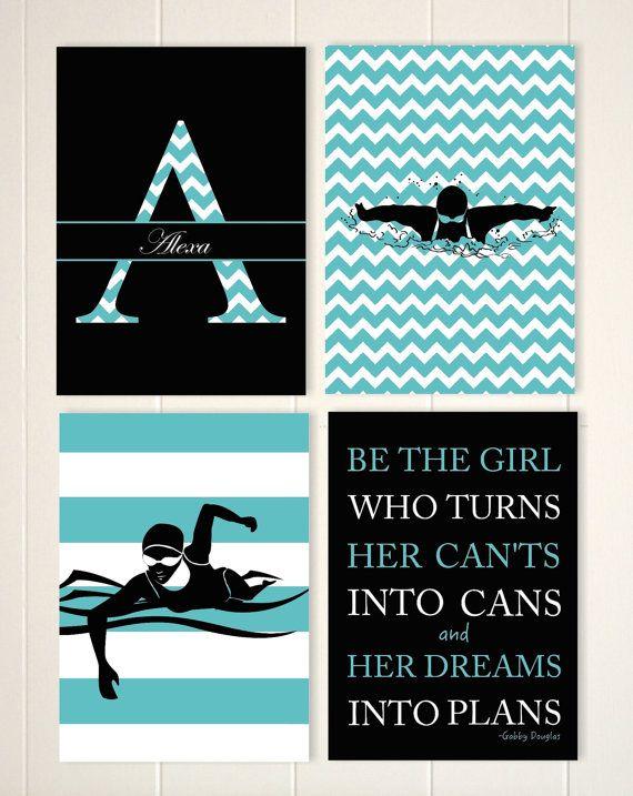 Swimming, swimmer girls wall art, teen girl wall art, girls inspirational art, gift for girl, monogram, set of 4 by PicabooArtStudio