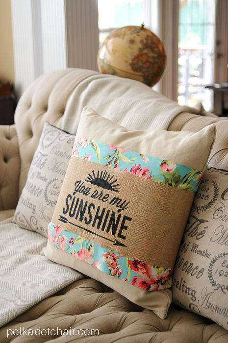 DIY You Are My Sunshine Floral & Burlap Pillow cover