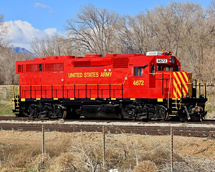 United States Army, EMD GP40-2 4-axle diesel road switcher locomotive in Roy, Utah, USA