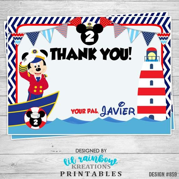 859 Diy Nautical Mickey Mouse 2 Party Invitation Or Thank You