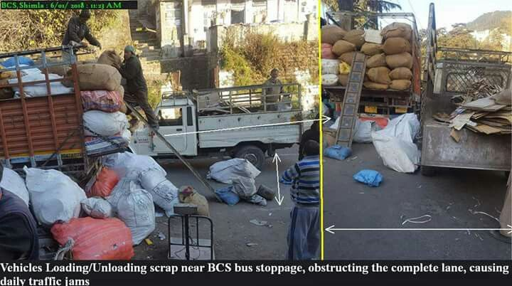 #ParkingSense Shimla Police  And nearest Police Station just 100 meters away  A resident of #BCS, Shimla, shared these photographs with HW complaining that this particular scrap dealer causes daily traffic trouble as his vehicles load/unload scrap untimely. This business continues throughout the day and the dealer is not obeying the regulations regarding the timing defined for this purpose. The pictures show a temp-truck and pick-up covering one of the lanes completely, leading to traffic as…