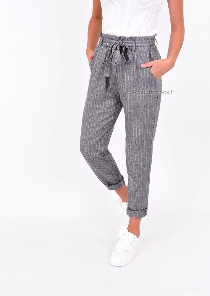 2cf050b483b07 Pantalon taille haute gris à rayures avec ceinture à nouer | things ...