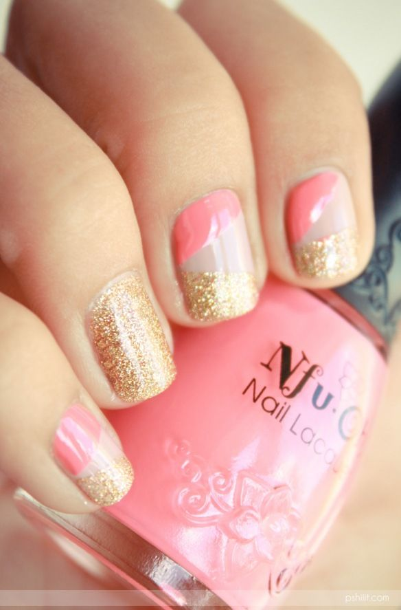 Feeling so good about this nude/pink/sparkle combo. It hits just the right balance of dressed up and dressed down.: Nails Art, Gold Nails, Nailart, Nails Design, Bare Necessities, Pink Nails, Nailsart, Glitter Nails, Colors Combinations