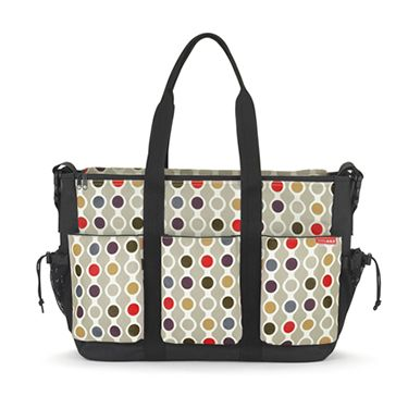 Skip Hop Duo Double Diaper Bag (wave dot) -- $80 -- only stroller bag designed for a double (side-by-side) stroller. With sixteen pockets, the DUO DOUBLE fits everything you need, and can be carried by the tote straps or messenger strap. magnetic closures throughout.