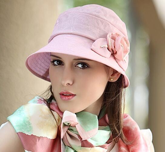 Beautiful flower bucket hat UV package sun hats for lady