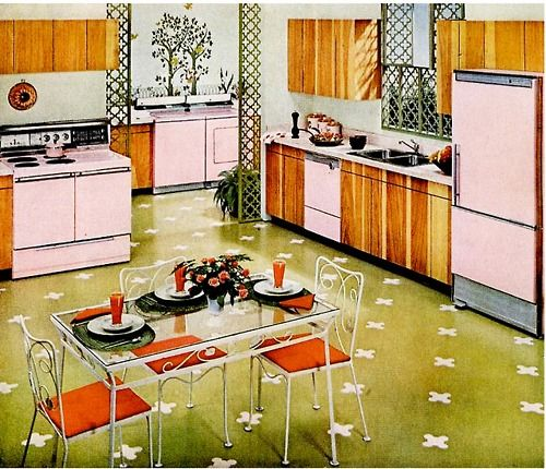 Best Mid Century Kitchen With Pink Electric Appliances With 400 x 300