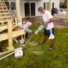 No-Dig Deck Footings - 16 Modern Deck Building Tips and Shortcuts: http://www.familyhandyman.com/decks/modern-deck-building-tips-and-shortcuts#14