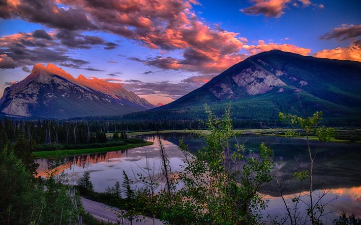 Download wallpapers Vermillion Lakes, Sunset, mountains, forest, lakes, Banff, Canada