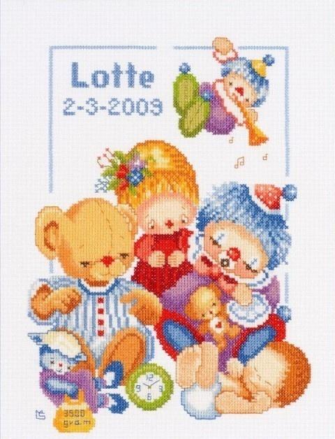 Borduurpakket Geboortefeest Katoen - Lanarte Maria van Scharrenburg