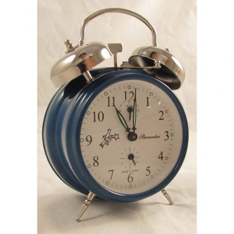Sternreiter Double Bell Mechanical Alarm Clock U2013 Blue Never Worry About  Power Outages Or Dead Batteries