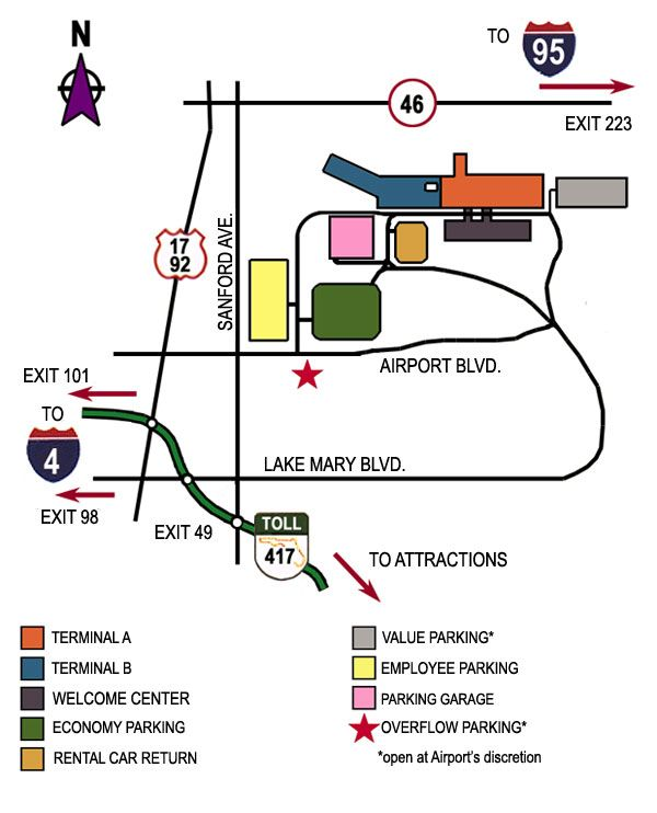Orlando Sanford International Airport - Airport Map and Parking Diagram