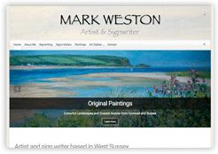 Image of a website we have created for artist and signwriter Mark Weston. From Cottagewebs Clients Directory.