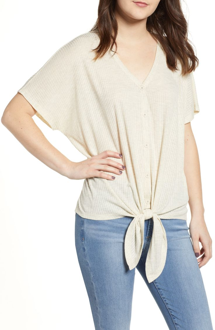 Women's Bp. Button Front Knot Hem Tee, Size Large – Beige