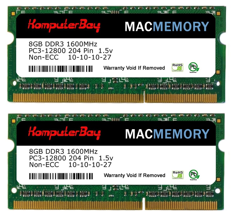 Komputerbay MACMEMORY 16GB (2x 8GB) PC3-12800 1600MHz SODIMM 204-Pin Laptop Memory 10-10-10-27 for Apple Mac  Price: $64.99