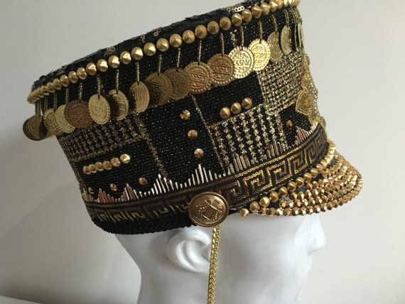 Black and gold one of a kind marching band hat, burning man festival cap, large…