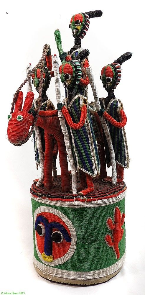 Yoruba Beaded Crown King on Horse and Four Guardians on Top Africa