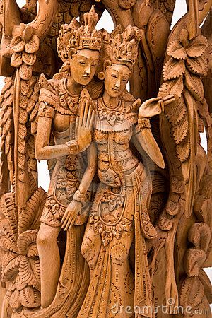 RAMA AND HIS WIFE SITA WOOD CARVING - Not the kind of carving I would do but admirable craftsmanship