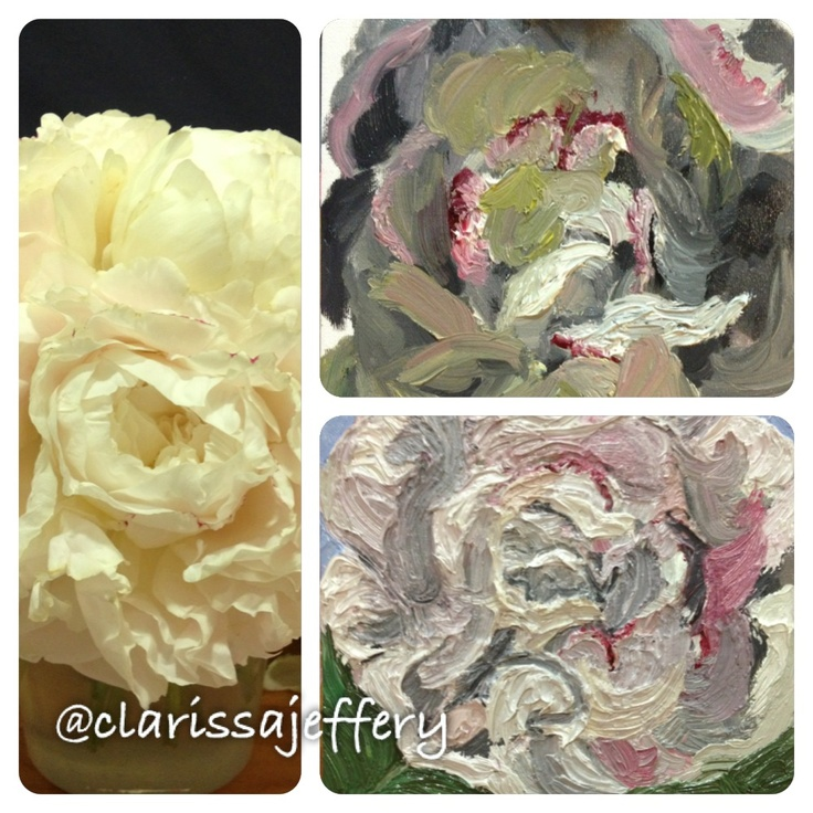 Currently working with Oil Pastels again, 'The Peonies' By Clarissa Jeffery, a work in progress! ©