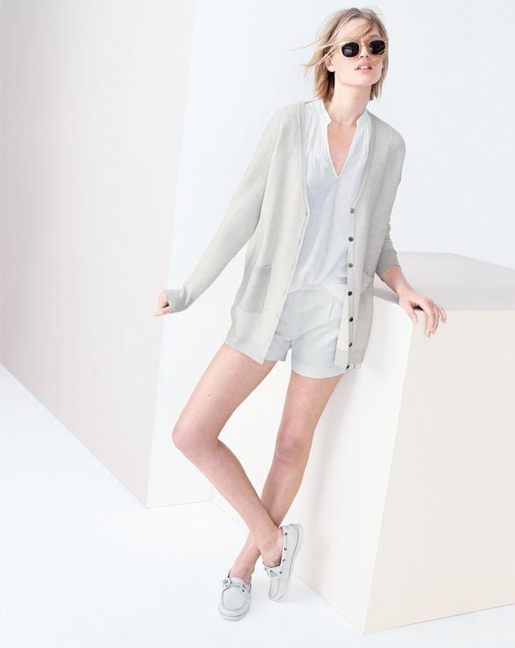 APR '14 Style Guide: J.Crew merino boyfriend v-neck cardigan sweater, sleeveless beach tunic top, pleated short in cotton piqué, Cutler and Gross® 0261 sunglasses.