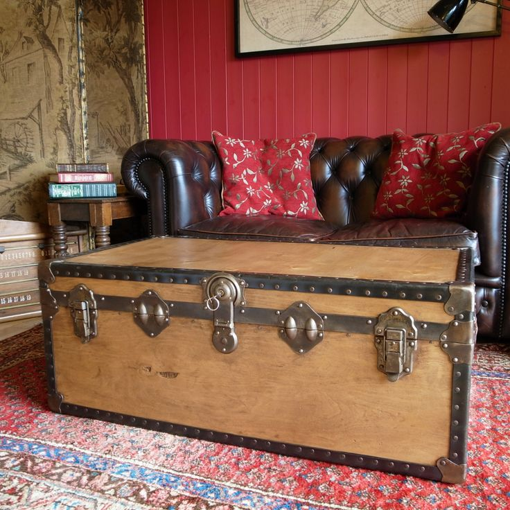 TRUNK COFFEE TABLE Vintage Steamer Trunk Storage Trunk Industrial Chest  Late 1930u0027s Mid Century Travel Trunk