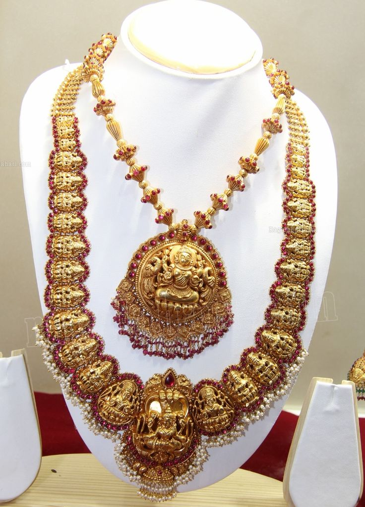 Short Necklace With Lakshmi Pendant And Heavy Lakshmi Long