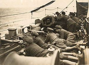 "National Army soldiers aboard a ship during the Civil War-The Irish Civil War ; 28 June 1922 – 24 May 1923) followed the Irish War of Independence and accompanied the establishment of the Irish Free State, an entity independent from the United Kingdom but within the British Empire. The conflict was waged between two opposing groups of Irish republicans over the Anglo-Irish Treaty. The forces of the ""Provisional Government"" (which became the Free State in December 1922) supported the Treaty…"