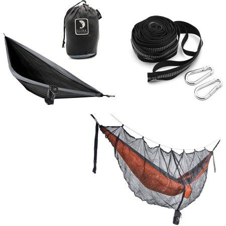 Tribe Provisions Hammock Start Kit: Hammock, Tree Straps and Mosquito Net, Black