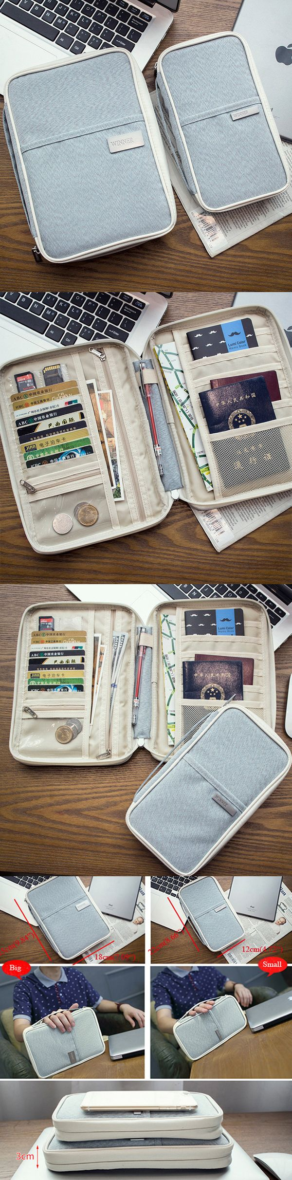 $ 9.89 ~ 11.89  Multi-slots Travel Passport Holder Organizer Cover ID Card Bag Passport Wallet Phone Storage Bag