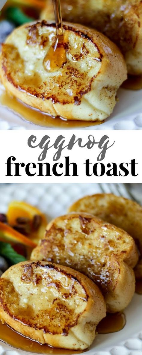 Eggnog French Toast is a delicious brunch recipe the whole family will love! #breakfast #frenchtoast #ChristmasBreakfast