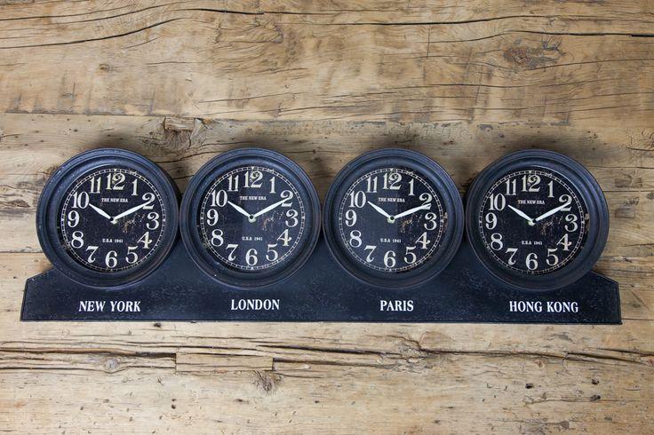 Relógio de Parede Nova York, London, Paris e Hong Kong   A Loja do Gato Preto   #alojadogatopreto   #shoponline   referência 74045354