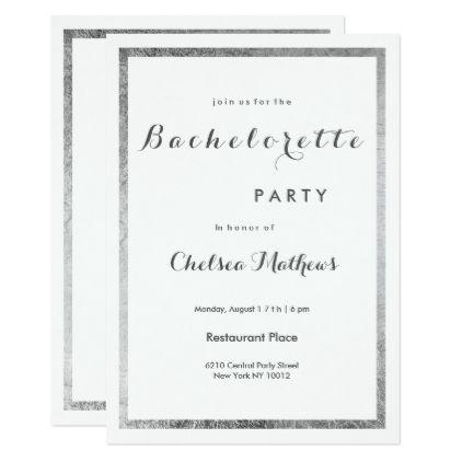 Simple elegant white faux silver Bachelorette Card - wedding invitations diy cyo special idea personalize card