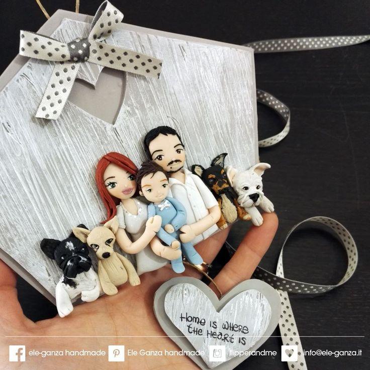 #custom #family #portrait #handmade with #clay #family #familytime #ritratto #quadrettofamiglia #familyportrait