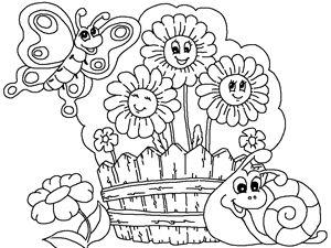 çocuklar için ücretsiz yazdırılabilir Çiçek bahçesi karikatür boyama