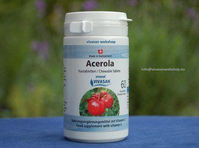 Acerola tabletten van Vivasan met extracten van de Acerola-kers is een voedingssupplement dat een tekort aan Vitamine C tegengaat.