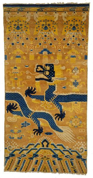 The Textile Museum | Upcoming Exhibitions | Dragons, Nagas, and Creatures of the Deep  Pillar rug, China, Ningxia, 19th century.