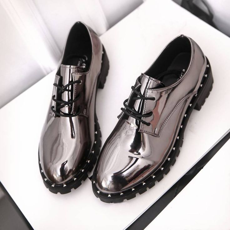 $17.78 Shoes Metallic Silver Laces Oxford Fashion 2017 Boots AliExpress Shopping Online Металлические ботинки Серебряные ботинки Алиэкспресс // Link for order on AliExpress: http://ali.pub/tx3nc