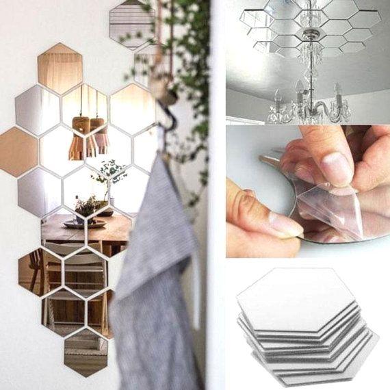 7 Hexagon Mirror Wall Decor Stickers 3D Acrylic Mirrored Decorative Mirror Sticker Waterproof Home Decor Autocollant Silver Wall Mirror