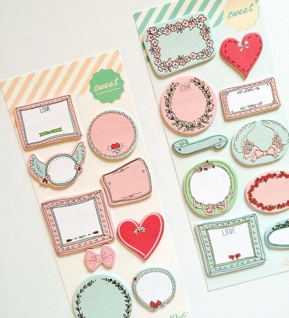 Handdrawn Frame Sticky Notes Set - Cute Sticky Notes for Filofax / Erin Condren Planner