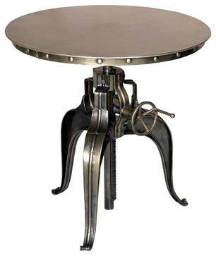 Round Crank-Top Metal Bistro Table industrial-indoor-pub-and-bistro-sets