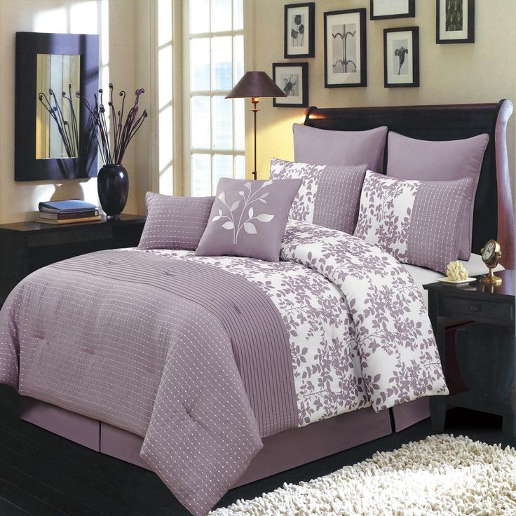 bliss purple and white olympic queen size luxury 12 piece comforter set includes comforter bed skirt pillow shams decorative pillows flat sheet fitted sheet
