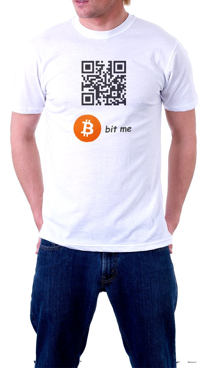 """$10  Bitcoin QR Code T Shirt - """"Connect your Wallet code and Get paid on the Go!"""""""