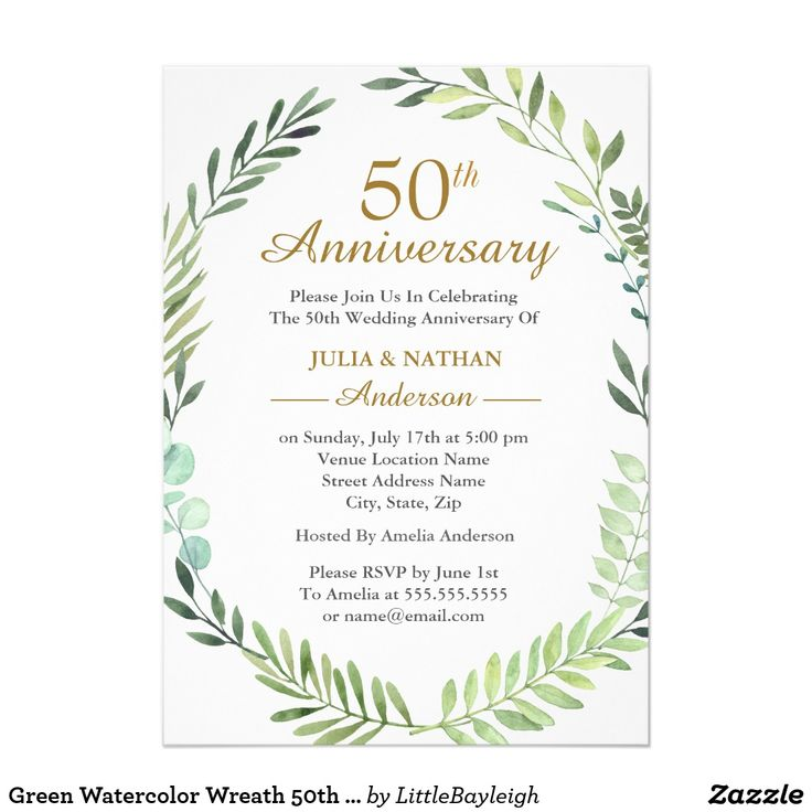 37 best wedding anniversary images on pinterest green watercolor wreath 50th wedding anniversary invitation stopboris Image collections