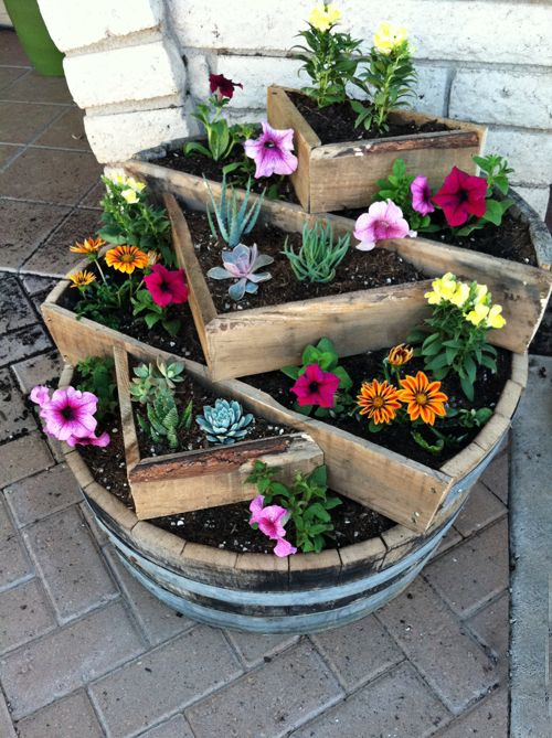 Tiered whiskey barrel planter